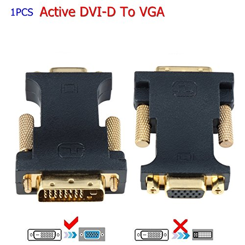 (CableDeconn DVI VGA Adapter, Active DVI-D 24+1 to VGA Link Video Adapter Cable Converter for PC DVD Monitor HDTV)