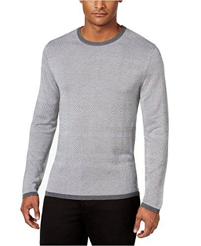 end Textured Striped Crew-Neck Sweater (Night Grey Heather, Medium) (Silk Striped Sweater)