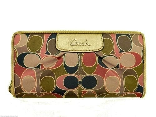 Coach Signature Ashley Scarf Print Zip Around Multi-color Wallet (Signature Print Wallet)