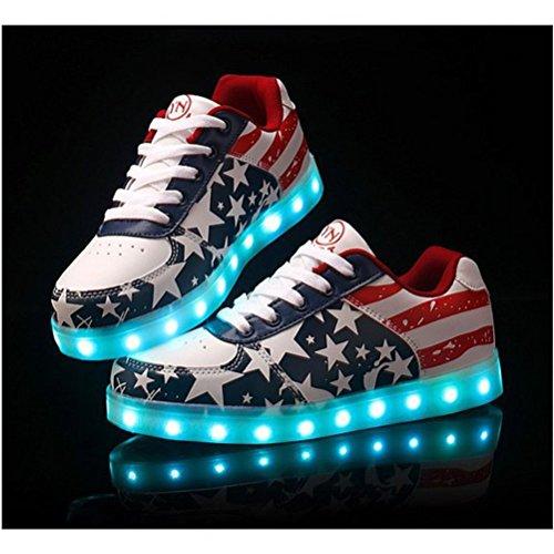 [Present:kleines Handtuch]JUNGLEST® Unisex Damen Herren LED leuchten Glow Schuhe USB Lade Luminous Flashing Schuhe USA Stern Flagge Turnschuh Rot