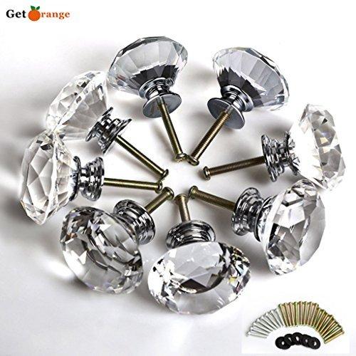 Get Orange 8 Pcs 40mm Diamond Crystal Glass Alloy Door Drawe