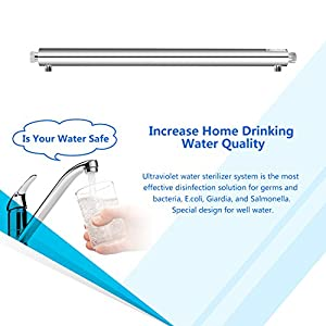forpow whole house water filter UV Disinfection Sterilizer System for Safe Water Purification 55-Watt,12-GPM,110-Volt +1 Extra FREE Replacement UV Bulbs