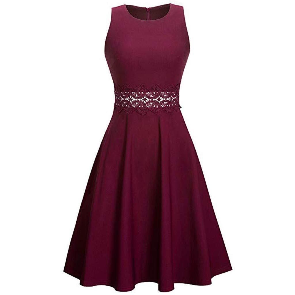 XXYsm Kleid 50er Jahre Rockabilly Damen Vintage Elegant Bodycon Ärmellos Spitze Patchwork Casual Abend Party Kleider A-Line Swing Kleid