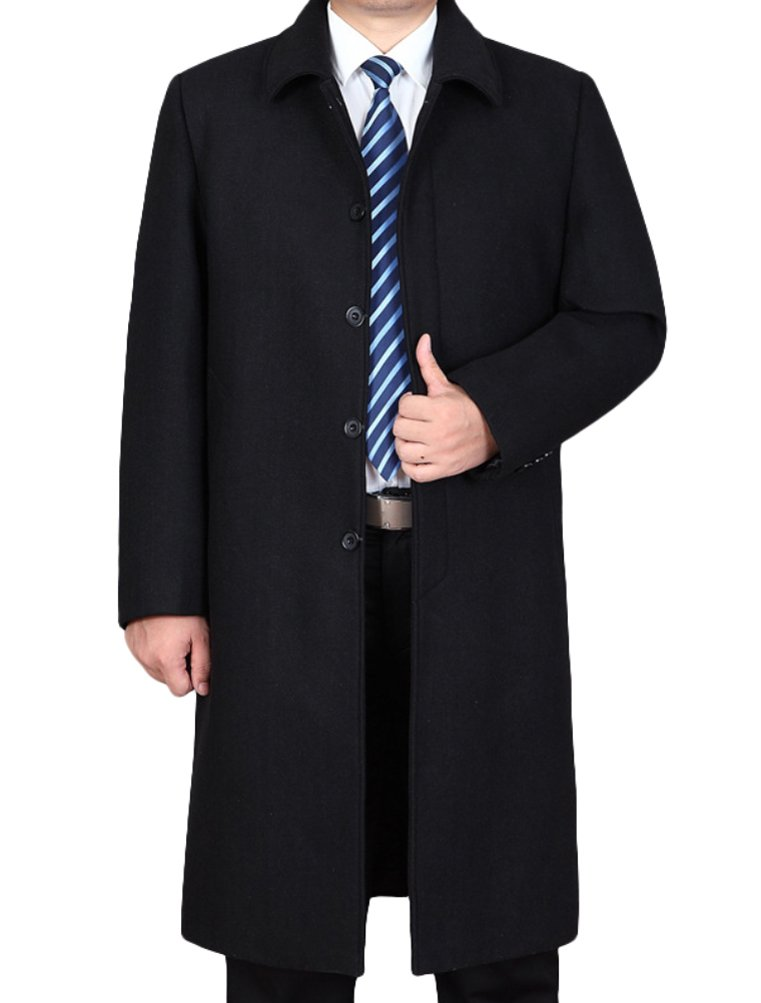 Mordenmiss Men's Wool Single Breasted Winter Trench Jacket Woolen Pea Coat Style 2 Black M by Mordenmiss