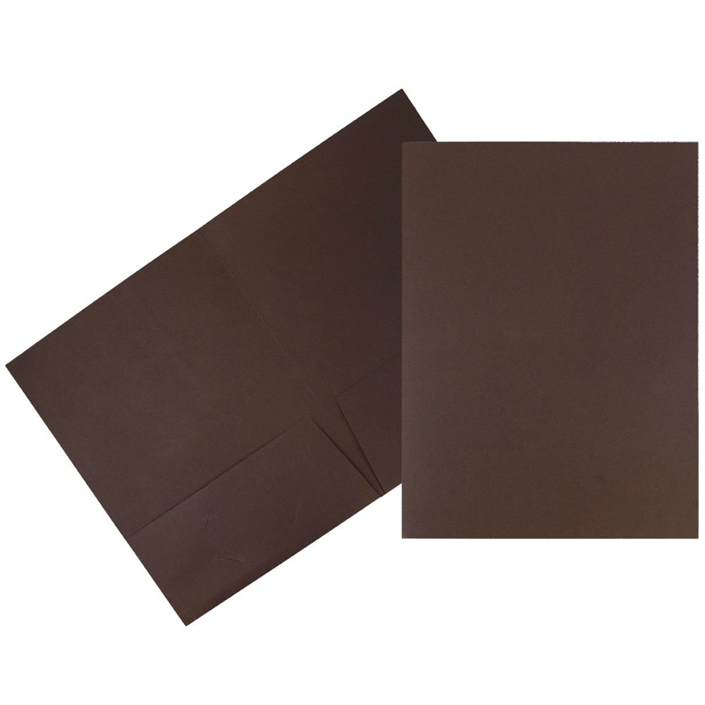 JAM Paper Linen Two Pocket Presentation Folder - Chocolate Brown - 100/pack