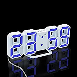 TRADE LED Illuminate Digital Alarm Clock with 3 Adjustable Brightness Levels 12/24 Hour Display Snooze Function Wall-Mounted Desktop Clock (White/Blue)