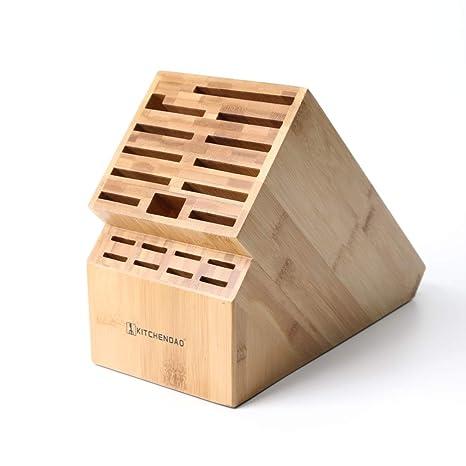 KITCHENDAO Bloque de Cuchillas de 20 Ranuras, Soporte ecológico para Cuchillos de bambú sin Cuchillos - Deluxe Countertop Knife Stand-Hold Cuchillo de ...