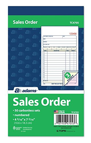 Adams Sales Order Book, 3-Part, Carbonless, 4-3/16