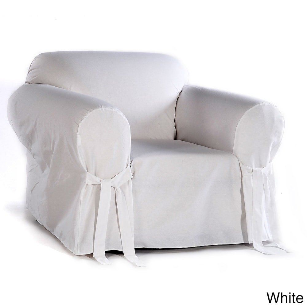 Classic Slipcovers Cotton Duck Chair Slipcover White by Classic Slipcovers