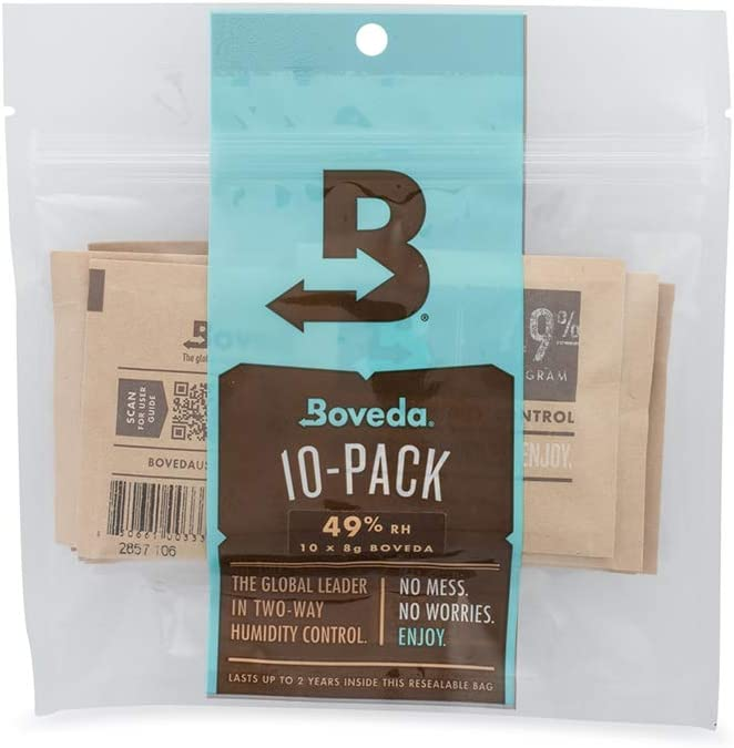 Boveda For Packaging and Storing Moisture-Sensitive Products | 49% RH 2-Way Humidity Control | Size 8 for Up to 1 ounce (30 grams) | 10-Count Resealable Bag