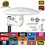 360 Degree Omnidirectional UFO Design Outdoor TV Antenna with Smartpass Amplified & Built-in 4G LTE Filter 65 Miles Range, Supports VHF and UHF Signals Fit Home/RV/Attic Use