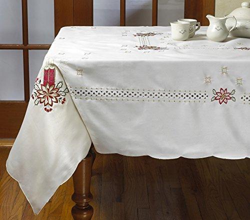 Violet Linen Seasonal Christmas Candles Vintage Holiday Embroidered Design Oblong/Rectangle Tablecloths, 70