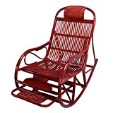 Home Rattan Rocking Chair, Retractable Pedals to Relax The Elderly Seat Recliner 624-YY (Color : Brown, Size : Upgrade)