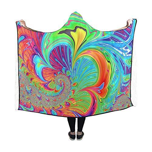 (VNASKL Hooded Blanket Fractal Art Psychedelic Fantasy Design Swirl Blanket 60x50 inch Comfotable Hooded Throw Wrap)