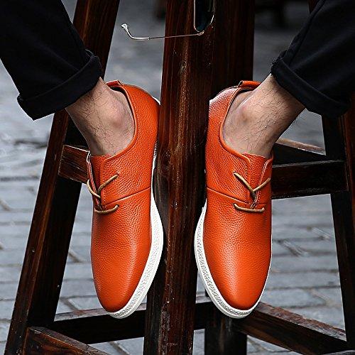 Abby 8096 Heren Dress-schoenen Lace-up Mode Casual Formele Bruiloft Brogues Slim Lederen Skateboards-schoenen Oranje