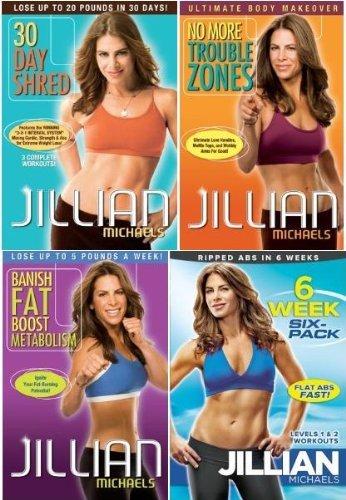 Jillian Michaels 4 DVD Set. 30 Day Shred/Banish Fat Boost Metabolism/No More Trouble Zones/6 Week Six-Pack (Jillian Michaels Six Week Six Pack Level 3)