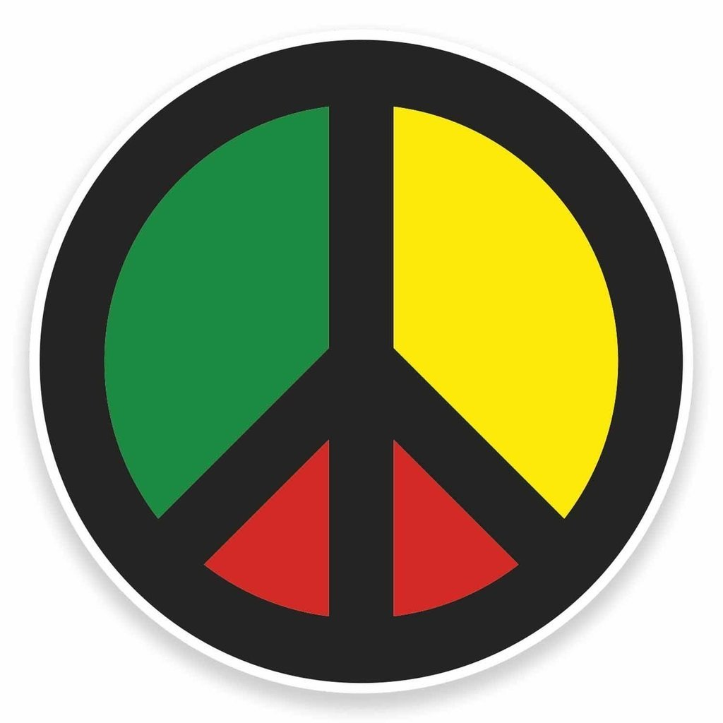 Amazon com rasta peace symbol vinyl stickers 2 pack 4 inch automotive