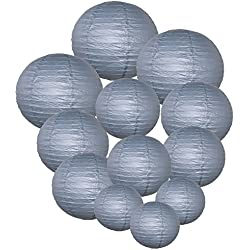 Just Artifacts Decorative Round Chinese Paper Lanterns 12pcs Assorted Sizes (Color: Slate Gray)
