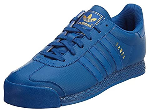 Adidas Originals Men's Samoa Leather Blue Sneakers AQ7446 Blue/Gold Metal US 10 (Gold Adidas Samoa)