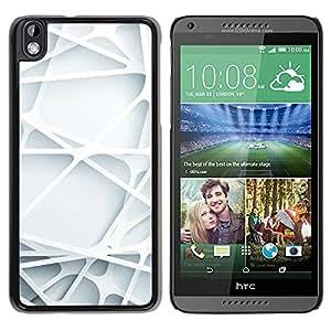 Planetar® ( 3D Art Lines Web Plastic White Clean ) HTC DESIRE 816 Fundas Cover Cubre Hard Case Cover