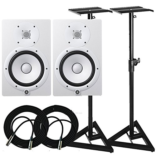 Yamaha HS Series HS8 - 8 Inch 2 way Bass Reflex Bi amplified Nearfield Active Powered Studio Monitor in White (Pair) with Studio Monitors Stands and Microphone Cables by Yamaha