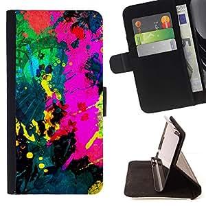 Momo Phone Case / Flip Funda de Cuero Case Cover - Colorfol brillante Pintura Moderna Splash Paint - Samsung Galaxy J1 J100