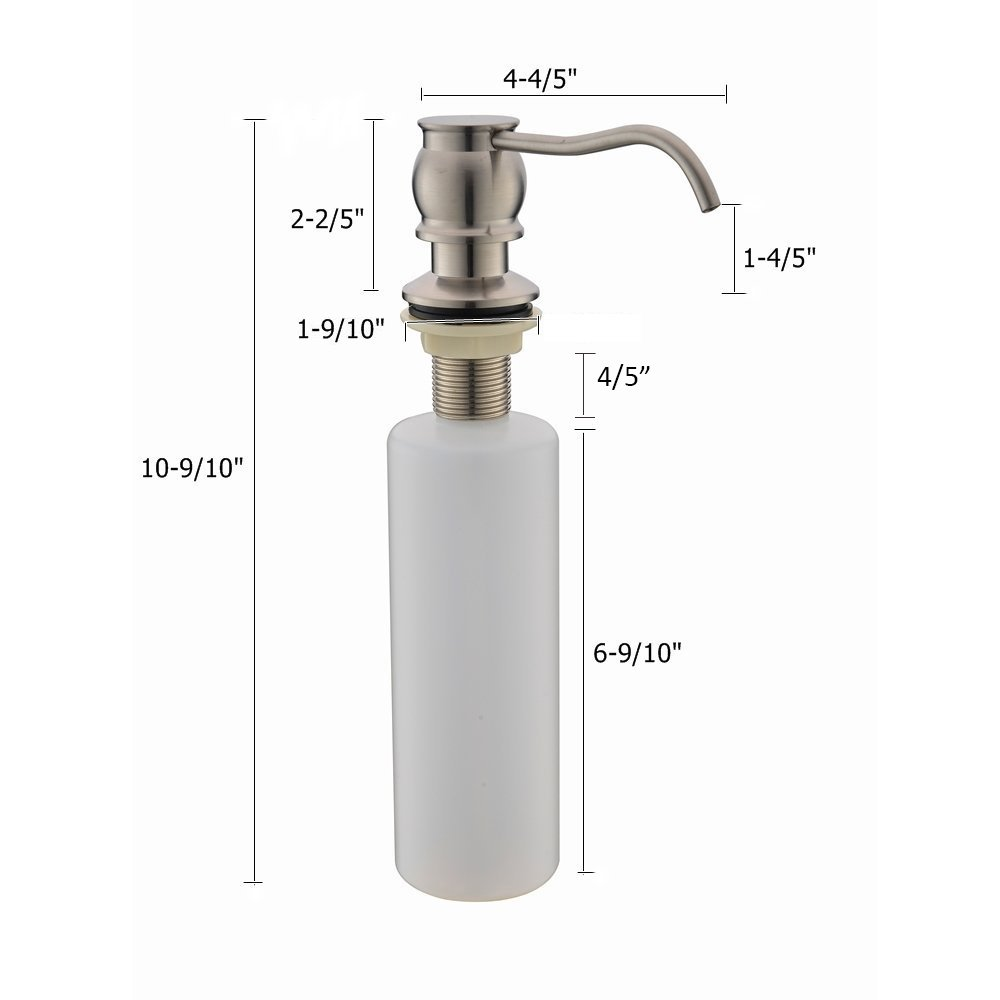VCCUCINE Antique Country Deck Mount Brushed Nickel Kitchen Sink Granite Countertop Hand Pump Replacement Soap Dispenser, Stainless Steel Liquid Dish Dispenser by VCCUCINE (Image #5)