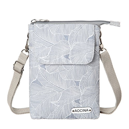 Cell Phone Purse Wallet Canvas Leaf Pattern Small Crossbody Purse Bags For (Pattern Women Shoulder Bags)