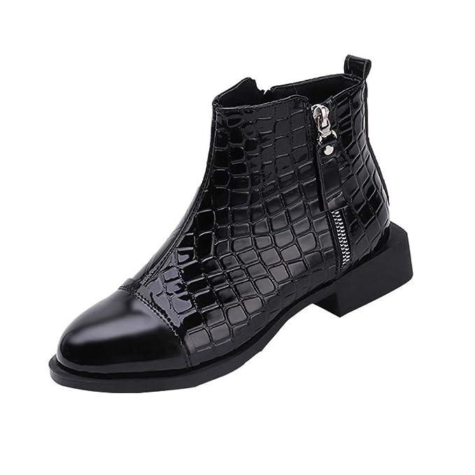 ❤ Botas Cortas de Invierno Mujer Cuero, Moda Moda Mujer Cuadrado Sólido Cremallera de Cuero Botas Gruesas Zapatos de Punta Redonda Absolute: Amazon.es: ...