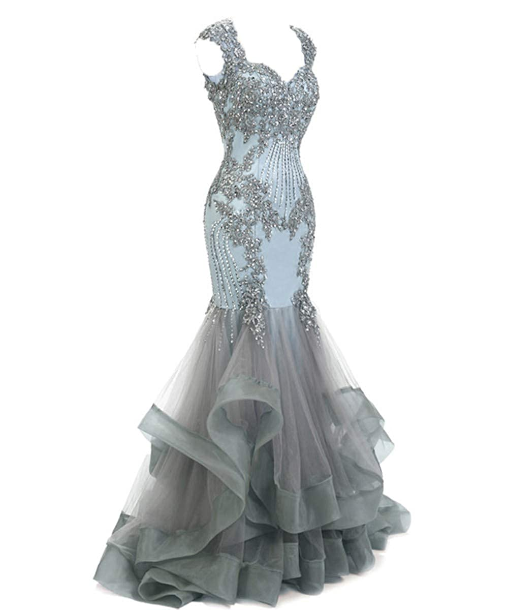 Light bluee Silver FTBY Women's Mermaid Evening Dress Backless Beaded Lace Formal Evening Prom Dresses Long Plus Size