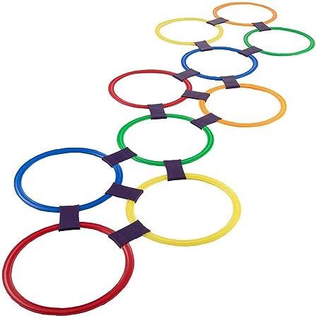 Rayuela anillo que juega juega 10 multicolor de anillos de plástico y 9 conectores para la diversión de interior al aire libre creativo Set de Juegos para niñas y niños