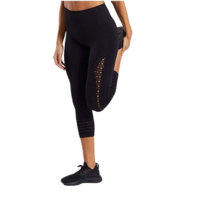 Women Sports Mesh Trouser Gym Workout Fitness Capris Yoga Pant Legging Capri Legging Yoga Pants Running Tights
