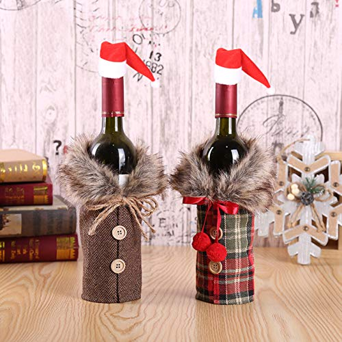 2 Pieces of Christmas Hat Sweater Bottle Cover Unique Clothes Button and Fur Collar Design Christmas Party Table Family Wedding Decoration Christmas Gift Packaging (Table Unique Covers)