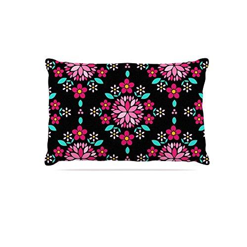 30 by 40\ Kess InHouse Anneline Sophia Dahlia Mandala  Pink Black Fleece Dog Bed, 30 by 40
