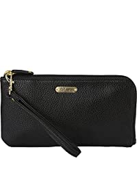 Buxton Women's RFID L-Zip Wallet with Power Bank, Black