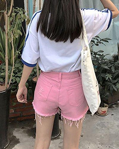 Jeans Strappati Corto Alta Estate Jeans Donne Vita Pantaloncini Pants Quge Denim Rosa A Hot Slim v7O5q