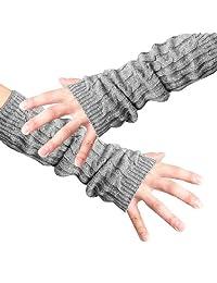 Men Fingerless Design Thumb Hole Knitted Long Gloves