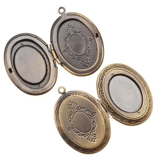 (Beadaholique Antiqued Brass Oval Scroll Locket Pendant With Setting For Cabachon 33mm)