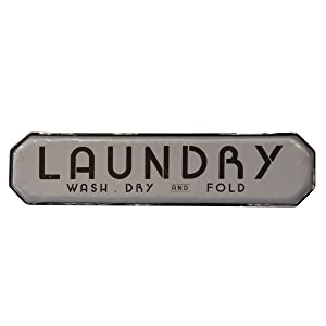 NIKKY HOME Vintage Metal Wall Plaque Sign for Laundry Room 20 Inches Grey