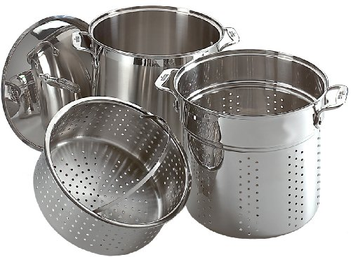 All-Clad E796S364 Specialty Stainless Steel Dishwasher Safe 12-Quart Multi Cooker Cookware Set, 3-Piece, Silver - Pasta Colander Insert