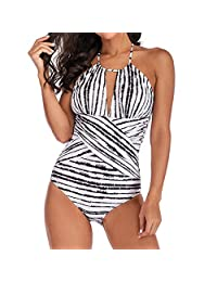 27d090ee72 Womens Sexy Halter Striped One Piece Swimwear Swimsuit Plus Size Padded  Monokini Push Up Bikini Bathing Suit S…