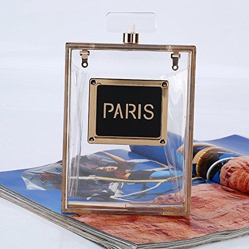 Lovely rabbit Robe de Soirée Pochette Sac Lady Perfume Bottle Forme Unique Transparent Sac à Main Dur Petit Sac à Bandoulière Décontracté Sac Bandoulière (Color : Transparent) Transparent