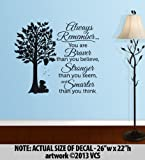 """""""BRAVER than you believe, STRONGER than you seem, SMARTER than you think"""" LARGE Wall Décor Sticker Vinyl Decal - Winnie the Pooh Quote"""