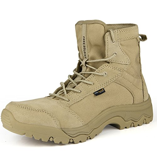 FREE SOLDIER Outdoor Men Storm Ultralight Tactical Boots Breathable Durable Lightweight Shoes (Sand Color 10.5 US) by FREE SOLDIER