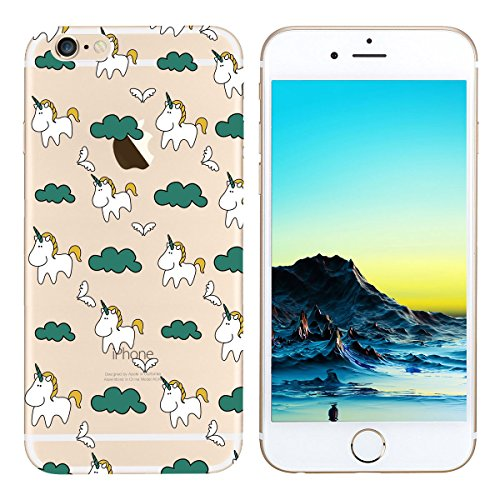Funda iPhone 6 / 6S 4.7,Carcasas iPhone 6 4.7 Gel TPU Silicona Flexible Transparente Ultra Delgado Ligero Goma Case Cover Caja Suave Gel Shock Absorción Anti Rasguños Anti Choque Bumper Protectora F Unicornio lindo
