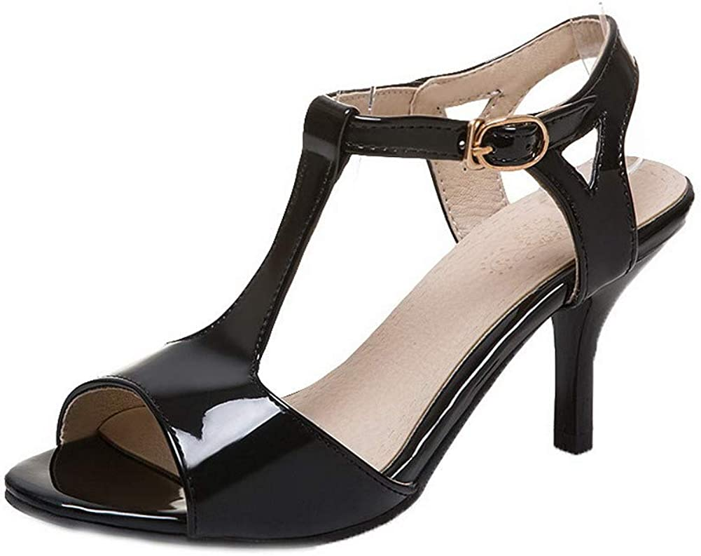 AalarDom Womens Buckle Patent Leather Open-Toe High-Heels Sandals,TSDLH007148