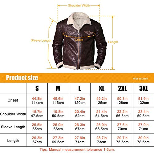 FREE SOLDIER Men's Bomber Jacket Lightweight Winter Fleece Lined Tactical Pilot Jacket with Stand Collar