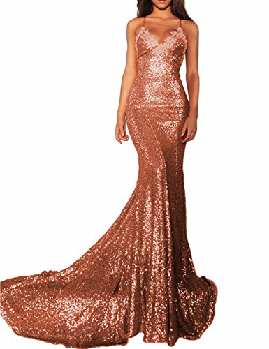 Women's Sexy Mermaid Long Sequin Formal Party Dress Spaghetti Strap Evening Gown Lace 218 Coral 02 (Two Sequin Strap)
