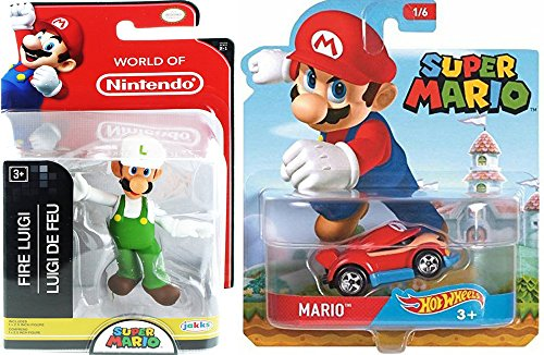 "Cartoon Hot Wheels Character Car 2017 Super Mario Video Game Car & World of Nintendo 2.5"" Fire Luigi Action Mini Figure Pack"
