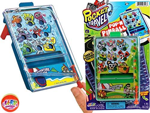 JA-RU Pinball Pocket Travel Game and one Bouncy Ball Item #3258-1slp